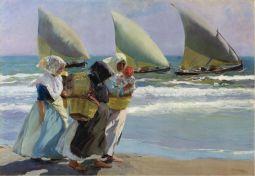 Pescadora con su hijo