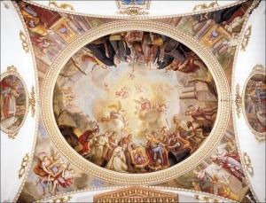 Pintures de Vergana en la cupula del camari de la Mare de Deu d'El Puig, narrant el fet miraculos de la seua aparicio, premonitori de la conquista de Valencia.